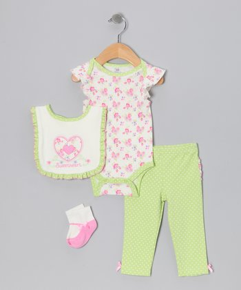 Lime 'Sweetheart' Bodysuit Set - Infant