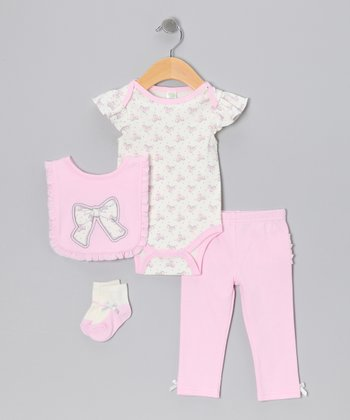 Pink Bow Bodysuit Set