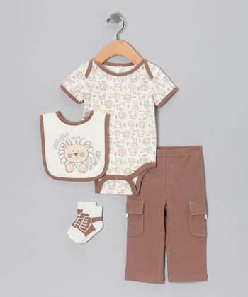 Brown 'Jungle Friends' Layette Set