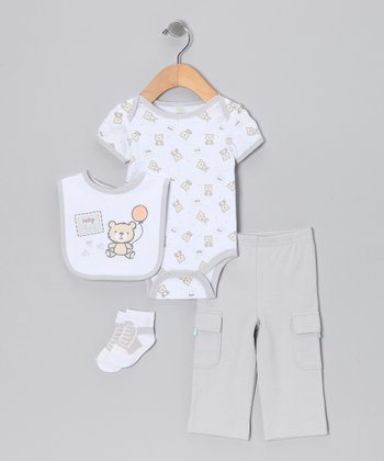 Gray 'Baby Bear' Layette Set