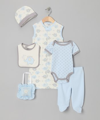 Blue Elephant 'Lil' Peanut' 7-Piece Layette Set