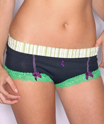 Black & Lime Stripe Lace-Trim Boyshorts - Women