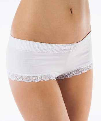 White Lace-Trim Boyshorts - Women