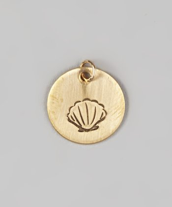Gold Seashell Round Charm