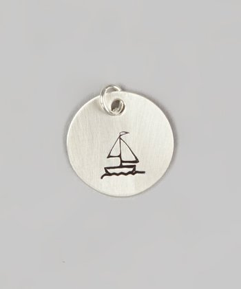 Sterling Silver Sailboat Round Charm