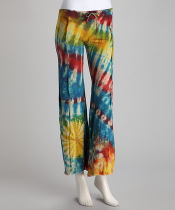 Blue Tie-Dye Drawstring Flare Pants