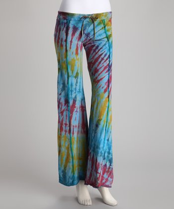 Green Tie-Dye Drawstring Flare Pants