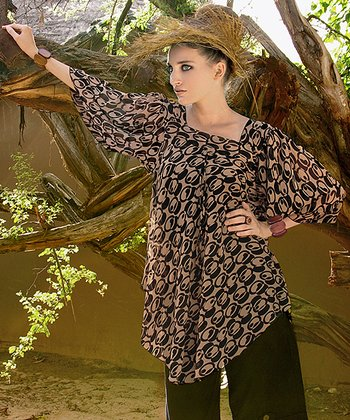 Black & Taupe Abstract Tunic