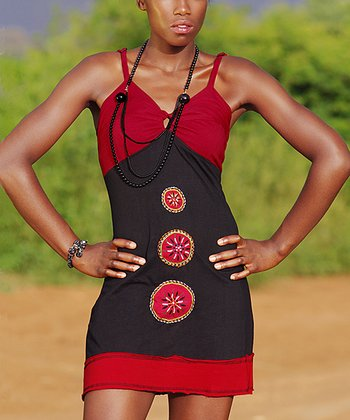 Black & Red Color Block Embroidered Dress