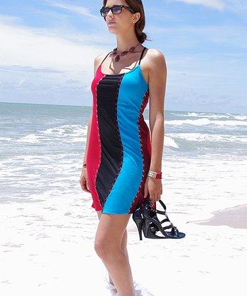 Turquoise & Black Color Block Dress