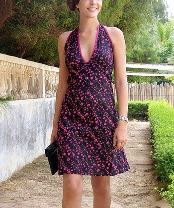 Navy & Fuchsia Dot Empire-Waist Dress