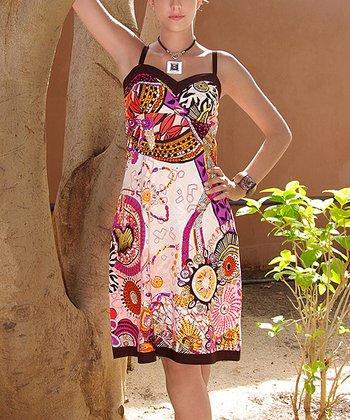 White & Fuchsia Empire-Waist Dress