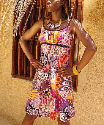 Pink & Purple Feather Empire-Waist Dress