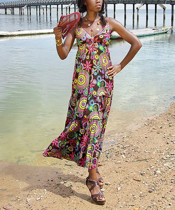 Pink & Brown Floral Maxi Dress