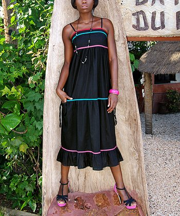 Black & Turquoise Stripe Sleeveless Dress