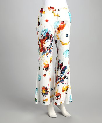 White Floral Flare Trouser Pants