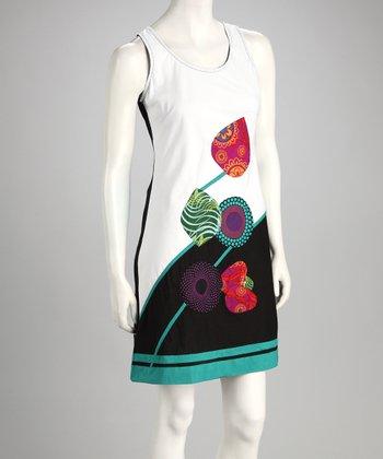 White Patchwork Petal Sleeveless Shift Dress