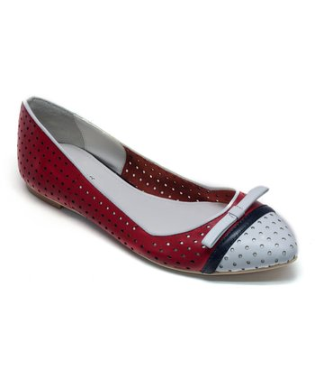 Navy & Red Opal Leather Flat