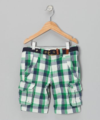 Blue & Green Plaid Cargo Shorts - Boys