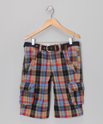 Blue & Orange Plaid Cargo Shorts - Boys
