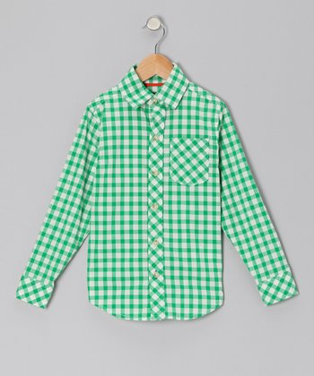 Fern Gingham Long-Sleeve Button-Up - Boys