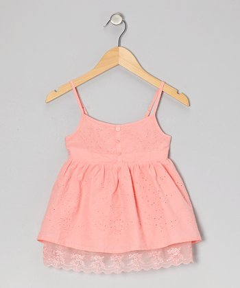 Light Pink Pansy Eyelet Tank - Girls