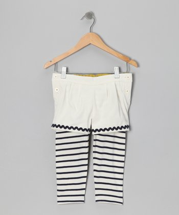 Porcelain Stripe Sail Layered Leggings - Toddler & Girls