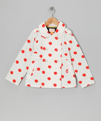 Porcelain Polka Dot Galley Rain Coat - Girls