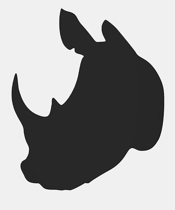 Rhino Head Black Rhino Head Wall Decal