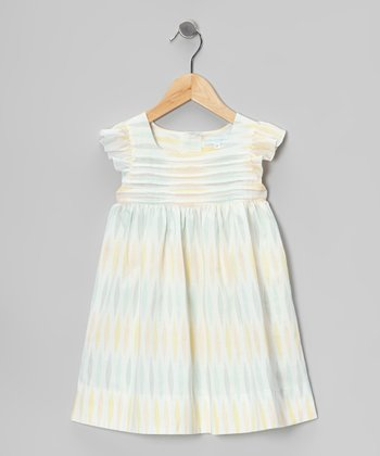 White & Pastel Pleated Angel-Sleeve Dress - Infant & Toddler