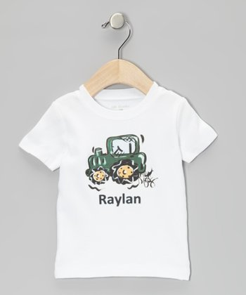 White & Green Tractor Personalized Tee - Infant, Toddler & Boys