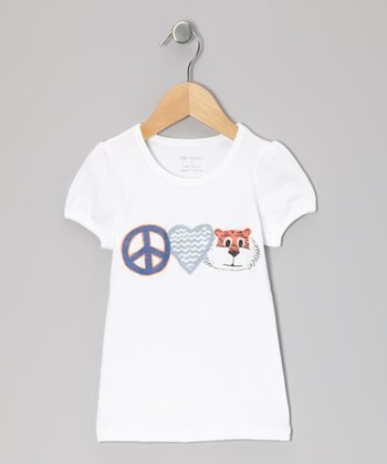 White & Blue 'Peace Love Tiger' Tee - Infant, Toddler & Girls