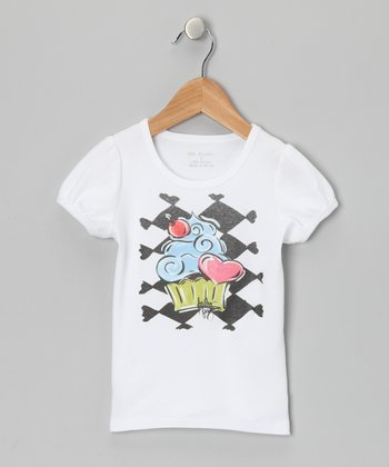 White & Blue Cupcake Tee - Infant, Toddler & Girls