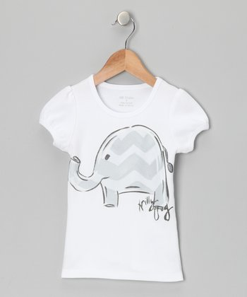 White & Gray Zigzag Elephant Tee - Infant, Toddler & Girls