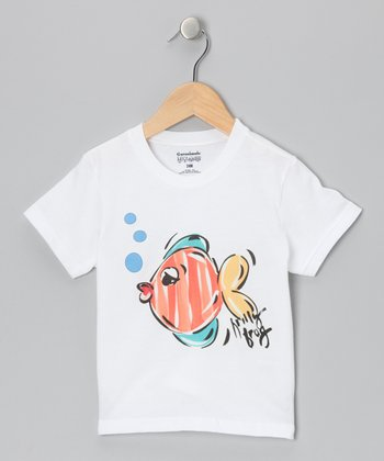 White & Orange Funny Fish Tee - Infant, Toddler & Boys