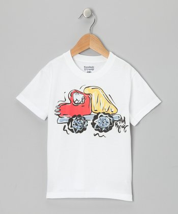 White & Red Dump Truck Tee - Infant, Toddler & Boys