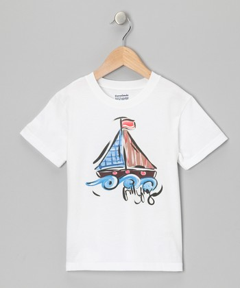 White & Blue Sailboat Tee - Infant, Toddler & Boys