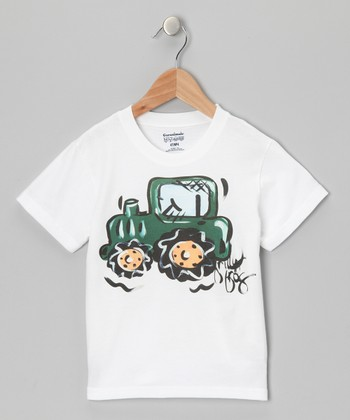 White & Green Tractor Tee - Infant, Toddler & Boys