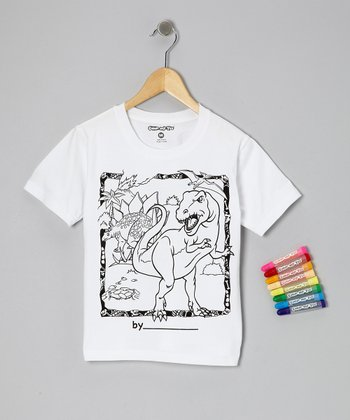 White Color-My-Tee Dinosaur Set