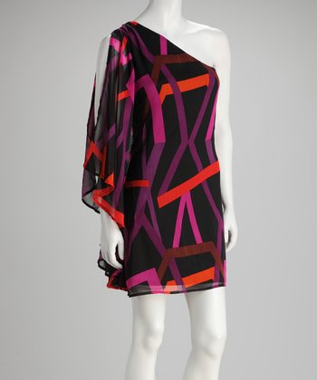 Black & Fuchsia Venture Asymmetrical Dress