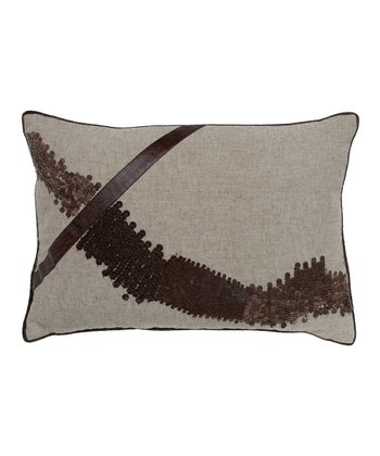 Wheat & Brown Slope Leather Lumbar Pillow