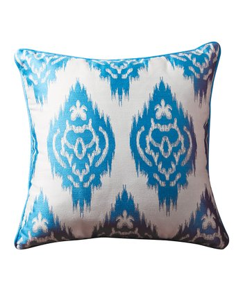 Turquoise Blue Ikat Sandy Wilson Decorative Pillow