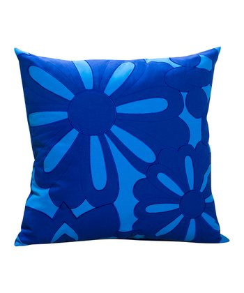 Turquoise Blue Floral Sandy Wilson Decorative Pillow
