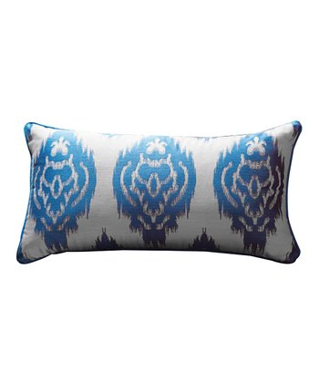 Turquoise Blue Ikat Lumbar Sandy Wilson Pillow