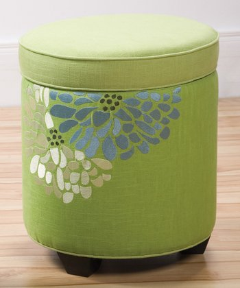 Lime Green Fresca Embroidered Sandy Wilson Storage Ottoman