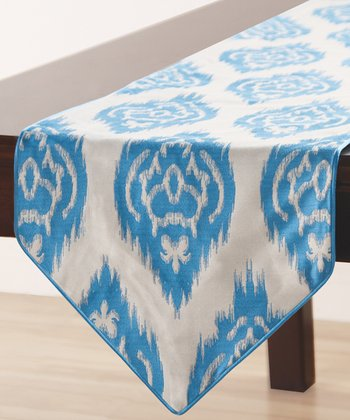 Turquoise Blue Ikat Sandy Wilson Table Runner