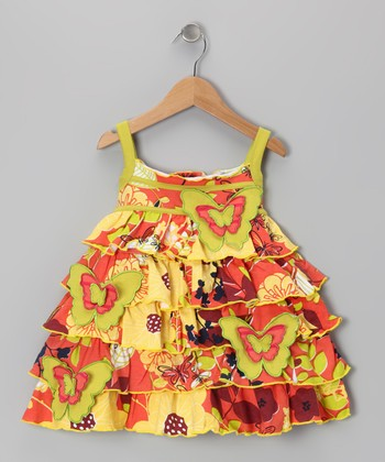 Orange Butterfly Garden Dress - Girls