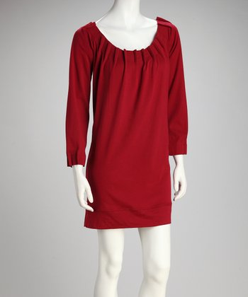 Berry Pleated Shift Dress