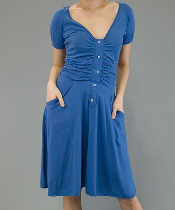 Delft Ruched Pocket Dress