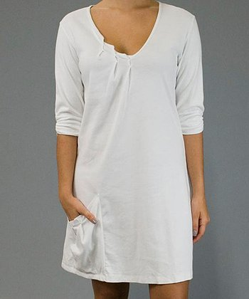White Pocket Shift Dress